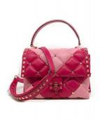 VALENTINO(バレンチノ)の古着「キャンディスタッズレザー2WAYバッグ」 ピンク