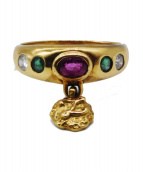 K18 Dia×Color Stones Ring(K18 ダイヤ×カラーストーンリング)の古着「K18 ダイヤ×カラーストーンリング」