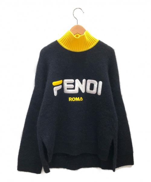 FENDI×FILA(フェンディ×フィラ)FENDI×FILA (フェンディ×フィラ) モヘヤ混ロゴニット ブラック サイズ:38の古着・服飾アイテム