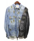 MIHARA YASUHIRO(ミハラヤスヒロ)の古着「ダメージ加工デニムシャツ」|インディゴ