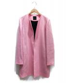 YOKO CHAN(ヨーコチャン)の古着「ノーカラーコート」|ピンク
