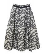 BLAMINK(ブラミンク)の古着「コットンリネンフレアスカート」|ホワイト×ブラック