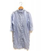 BAGUTTA(バグッタ)の古着「リネンシャツワンピース」 ブルー