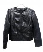 ANAYI(アナイ)の古着「ノーカラーラムレザージャケット」|ブラック