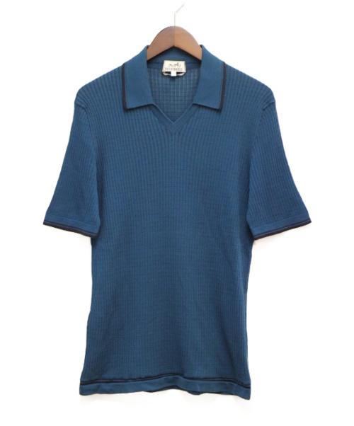 HERMES(エルメス)HERMES (エルメス) ニットポロシャツ ブルー サイズ:M 春夏物 コットンの古着・服飾アイテム