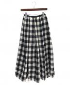 OBLI(オブリ)の古着「チェック柄ロングスカート」 ホワイト×ブラック