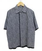 HERMES(エルメス)の古着「ジップアップシャツ」|ホワイト×ネイビー