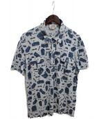 ()の古着「総柄ポロシャツ」|スカイブルー