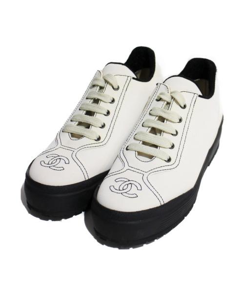 CHANEL(シャネル)CHANEL (シャネル) プラットフォームスニーカー ホワイト サイズ:37の古着・服飾アイテム