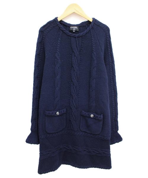 CHANEL(シャネル)CHANEL (シャネル) ニットワンピース ネイビー サイズ:34 秋冬物 ウール×カシミヤの古着・服飾アイテム