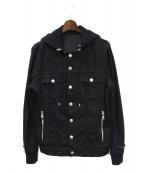 BALMAIN(バルマン)の古着「スウェット切替デニムジャケット」|ブラック