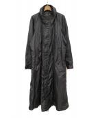 ISSEY MIYAKE(イッセイミヤケ)の古着「ポリエステルロングコート」|ブラック