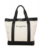 BALENCIAGA(バレンシアガ)の古着「ロゴキャンバストートバッグ」 ホワイト×ブラック