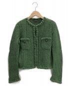 CHANEL(シャネル)の古着「鍵編みニットジャケット」|グリーン