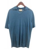 HERMES(エルメス)の古着「半袖ニットシャツ」|ブルー