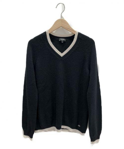 CHANEL(シャネル)CHANEL (シャネル) カシミヤVネックニット ホワイト×ブラック サイズ:34の古着・服飾アイテム