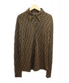 FENDI(フェンディ)の古着「ズッカ柄ストレッチポロシャツ」|ブラウン