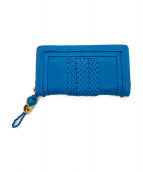 ()の古着「ウーブンウェブラウンドファスナー財布」 ブルー