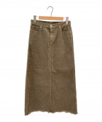 upper hights()の古着「Corduroy Long スカート」 オリーブ