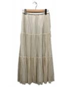 ()の古着「ジョーゼットプリーツティアードスカート」|アイボリー