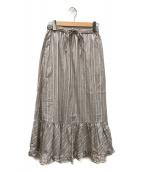 ()の古着「ストライプ ヘムフレアースカート」|ボルドー