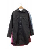DIESEL(ディーゼル)の古着「再構築ロングデニムシャツ」|ブラック×インディゴ