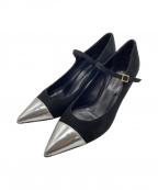 FABIO RUSCONI(ファビオルスコーニ)の古着「パンプス」 ブラック×シルバー