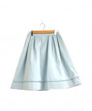 FOXEY NEWYORK (フォクシーニューヨーク) ストレッチグログランフレアスカート ブルー サイズ:42 22637-SPSAZ60-2