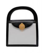 ()の古着「サークルプレートバイカラーハンドバッグ」 ホワイト×ブラック
