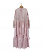 OBLI(オブリ)の古着「ティアードシャツワンピース」 ピンク