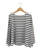 Le minor(ルミノア)の古着「ワイドバスクシャツ」 ホワイト×グレー
