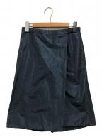 JIL SANDER()の古着「シルクブレンドラップスカート」|ネイビー