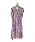 MYLAN(マイラン)の古着「リネンハートプリントボリューム袖ワンピース」|バイオレット
