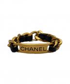 CHANEL(シャネル)の古着「チェーンブレスレット」 ゴールド×ブラック