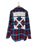 OFFWHITE(オフホワイト)の古着「17AW バックアローロゴ プリント チェックシャツ」
