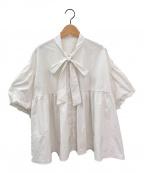 SEVEN TEN by MIHO KAWAHITO(セブン テン バイ ミホ カワヒト)の古着「タフタボウタイブラウス」|ホワイト