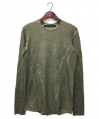A.F ARTEFACT(エーエフ・アーティファクト)の古着「Cold Dyed Switching Long Top」|カーキ