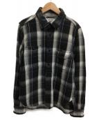 ()の古着「チェックワークシャツ」|ブラック