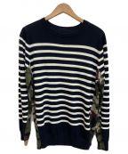 SOPH.(ソフ)の古着「切り替えニットセーター」|ネイビー×ホワイト×カーキ