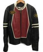 VANSON(バンソン)の古着「ライダースジャケット」 ブラック×レッド