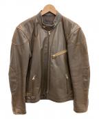 KADOYA(カドヤ)の古着「レザーライダースジャケット」 ブラウン