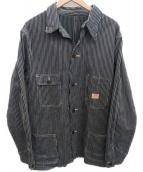 DRUM MAJOR(ドラムメジャー)の古着「リバティーストライプカバーオール」|ホワイト×ブラック
