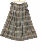 ONEIL OF DUBLIN(オニール オブ ダブリン)の古着「ウール タック ラップスカート」|ブラウン