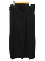 NO ID.(ノーアイディー)の古着「プリーツラップスカート」|ブラック