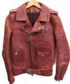NO ID. BLACK(ノーアイディーブラック)の古着「ホースレザーハイブリットヌメWAXジャケット」|レッド