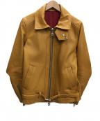 NO ID.(ノーアイディー)の古着「カウレザーセミアニリングルライダースJKTジャケット」|キャメル