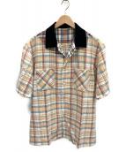 ()の古着「マドラスチェックシャツ」 ベージュ