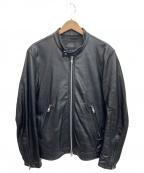 Black On TETE HOMME(ブラック オン テットオム)の古着「ラムレザーシングルライダースジャケット」 ブラック