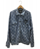 ELVIRA(エルヴィラ)の古着「CHECKER TRUCKER JACKET」|ブルー