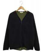 ()の古着「ノーカラージャケット」|ブラック×カーキ